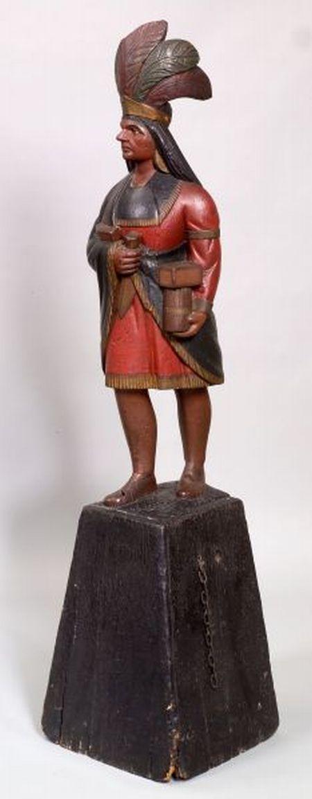 Polychrome Painted and Carved Wooden Indian Tobacconist Figure