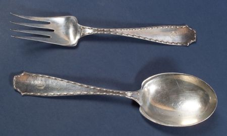 "Tiffany & Co. Sterling ""Marquise"" Serving Fork and Spoon"