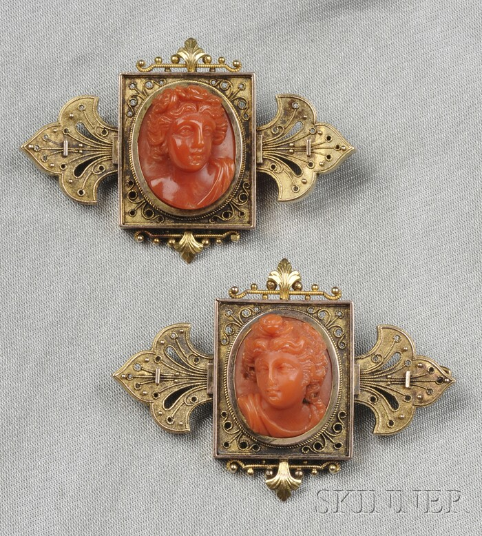 Pair of Antique Gold and Coral Cameo Brooches