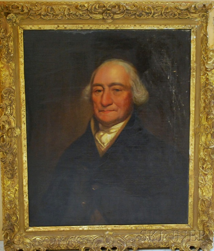 19th Century American School Oil on Canvas Portrait of a Gentleman