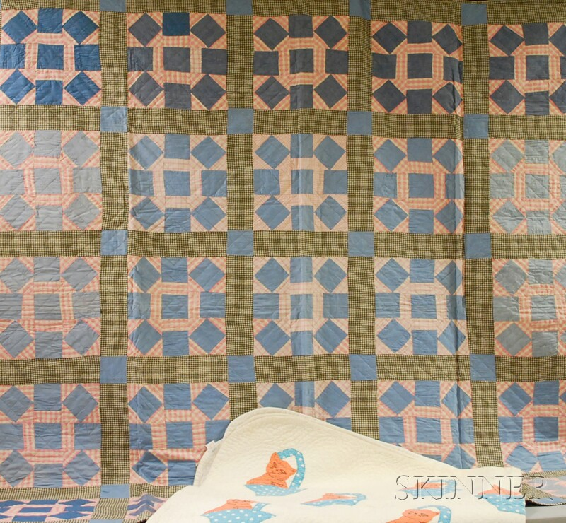 Two Machine and Hand-stitched Pieced and Applique Cotton Quilts