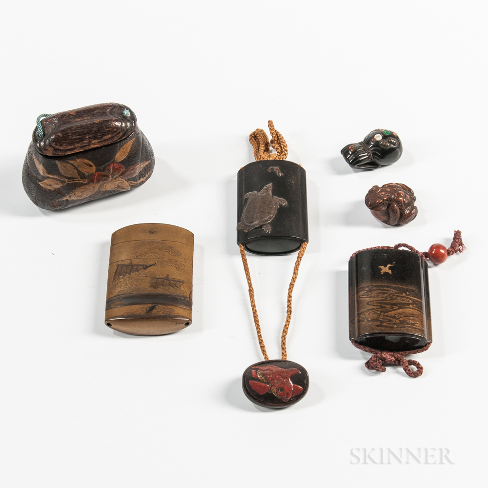 Four Assorted Inros and a Netsuke