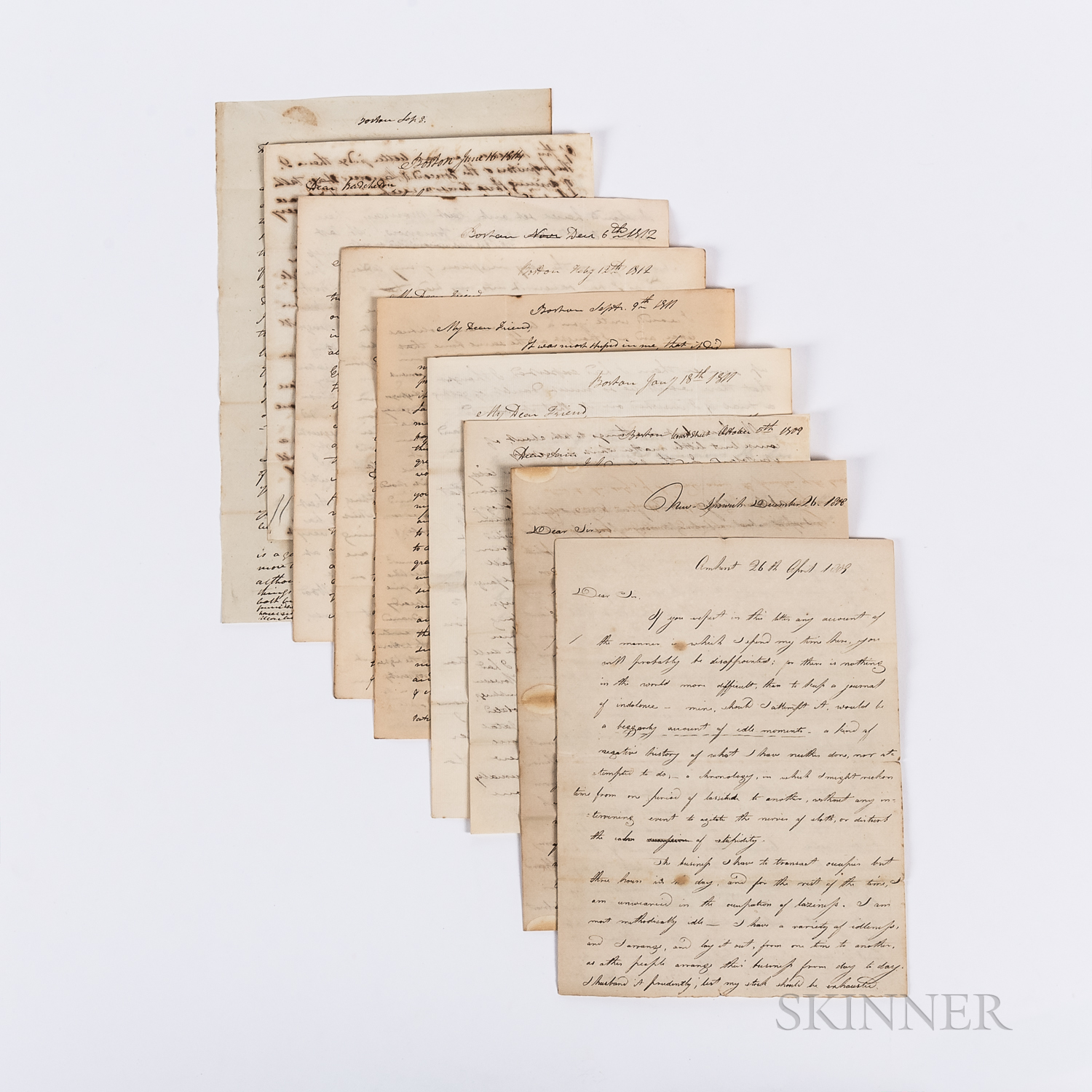 Twenty-two Letters and Documents Regarding the Business and Personal Affairs of Samuel Batchelder, 1808-1827.