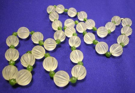 Rock Crystal and Nephrite Bead Necklace
