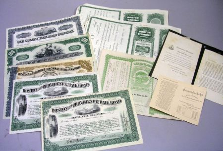 Eight Signed Railroad Stock Certificates and a Ben Hur Mining Co. Ltd. Stock   Certificate