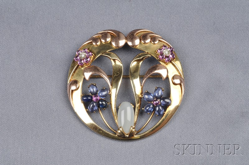 Retro 14kt Bicolor Gold and Gem-set Brooch