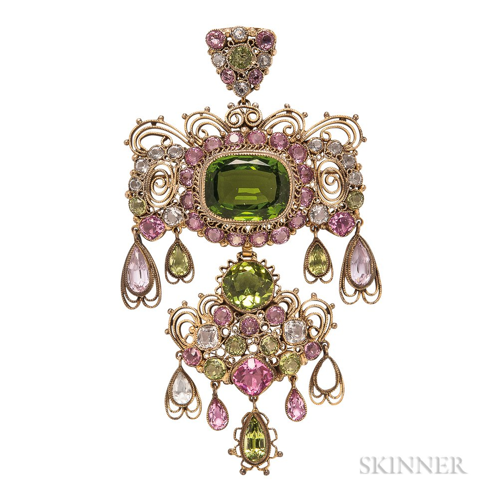 Vintage Gold-plated Filigree and Colored Glass Brooch, Hobe