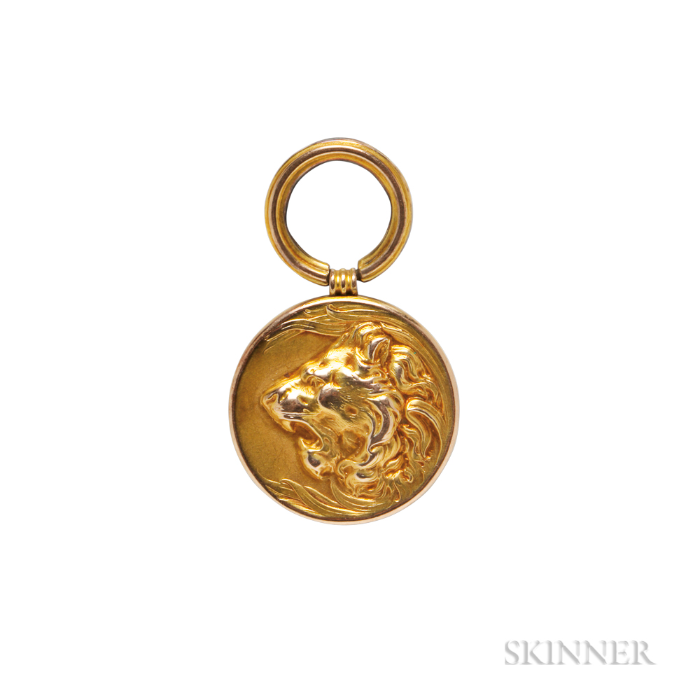 Art Nouveau Gold Lion Pendant
