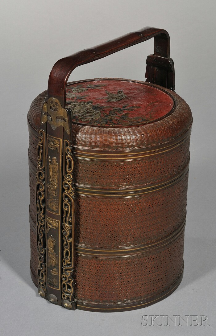 Japanese Three-tiered Bamboo and Cane Food Basket