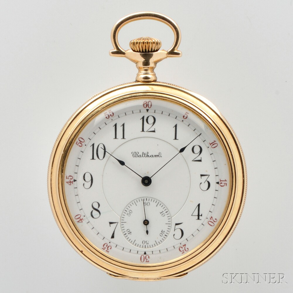 "Waltham 14kt Gold ""Riverside Maximus"" Open-face Watch"