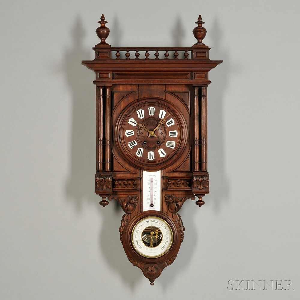 French Black Forest-style Wall Clock and Barometer