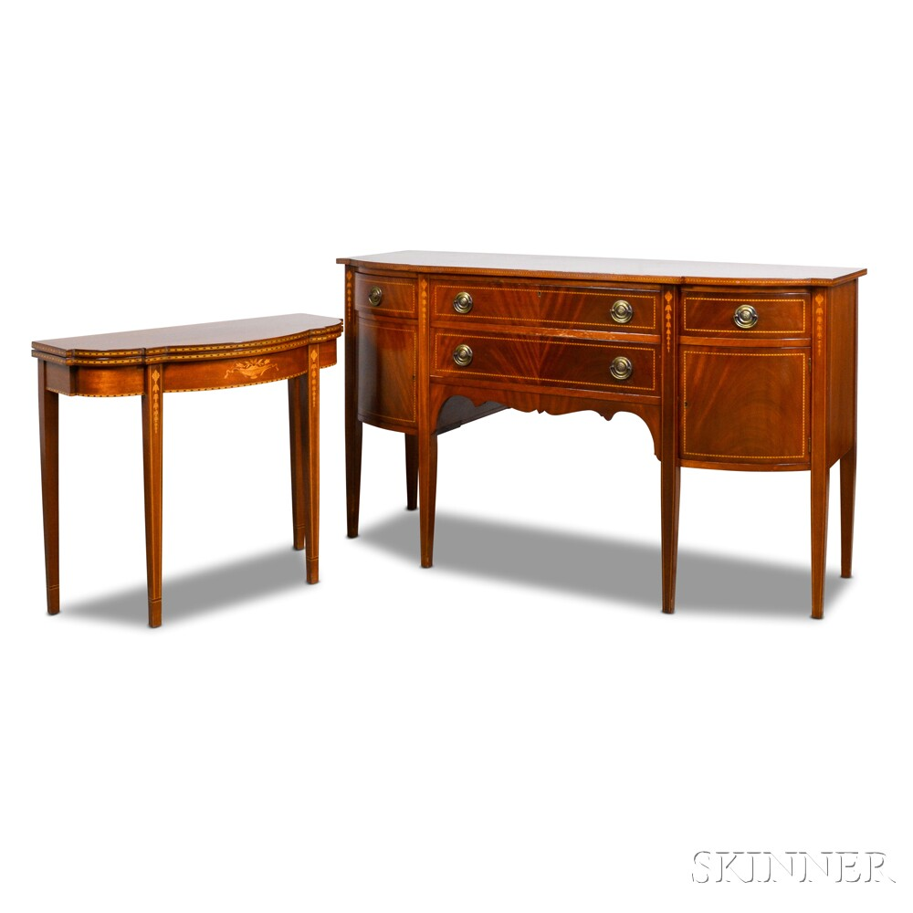 Federal-style Inlaid Mahogany Dining Room Set