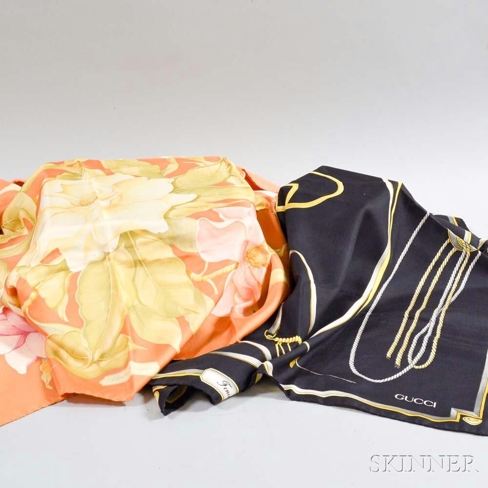 Two Designer Silk Scarves