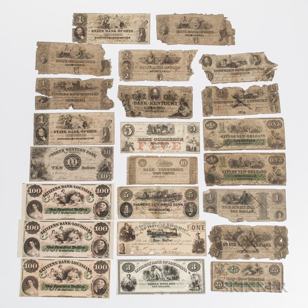 Approximately Twenty-three Obsolete Bank Notes