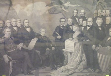 Framed Mechanical Print of the Signing of the Constitution.