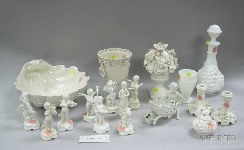 Twenty-three Pieces of White Glazed Ceramic and White Glass Table Items