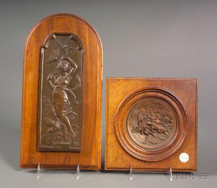Six Bronzed Metal Decorative Wall Plaques
