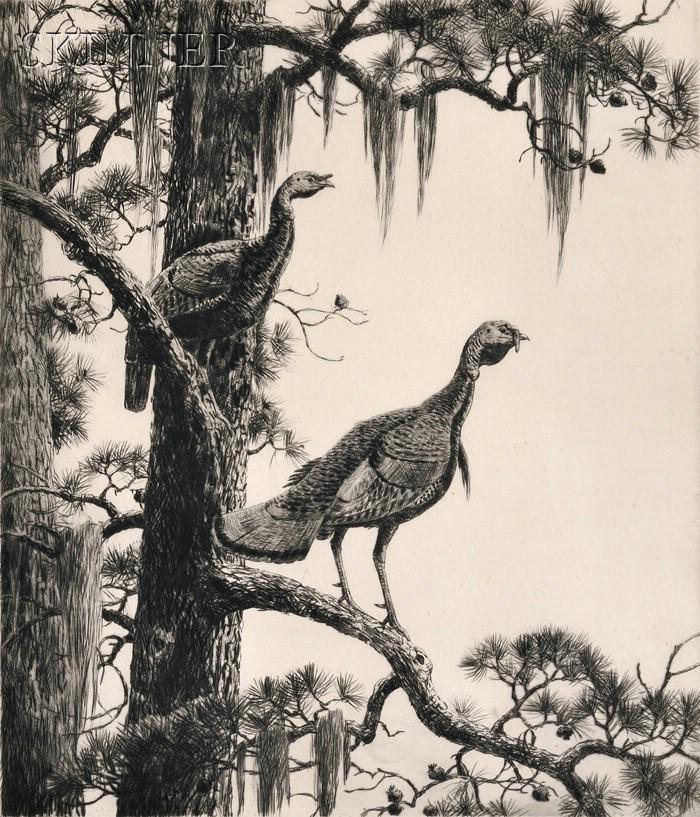 Aiden Lassell Ripley (American, 1896-1969)      Wild Turkeys.