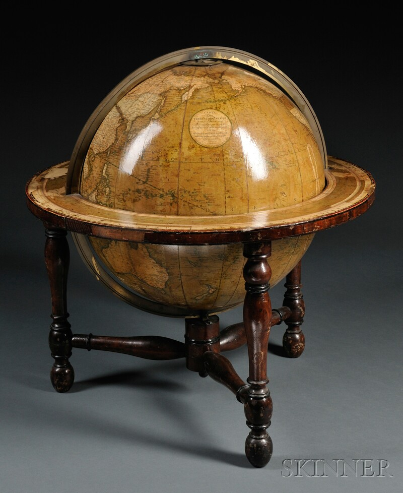 Cary's Fourteen-inch Terrestrial Table Globe on Stand