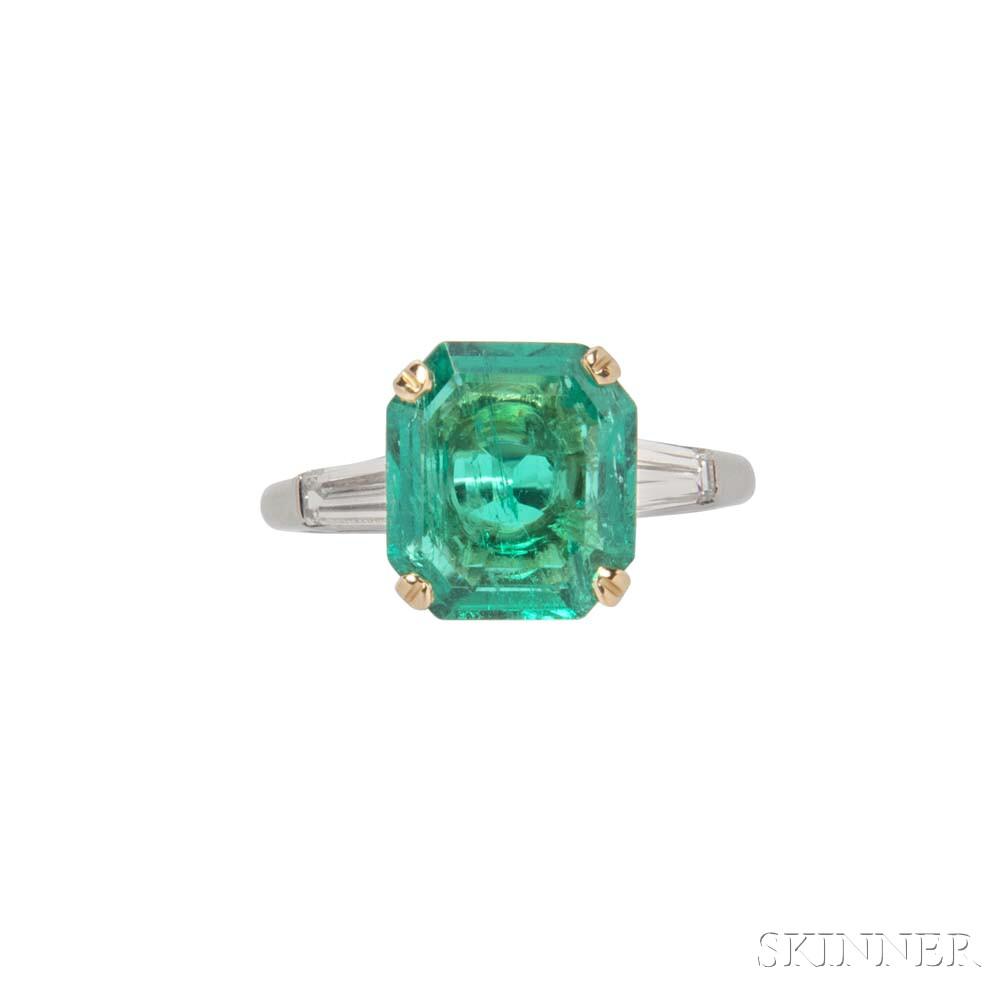 Platinum, 18kt Gold, Emerald, and Diamond Ring