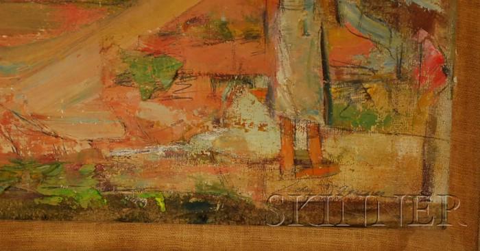 John Robinson Frazier (American, 1889-1966)      Bay View with Figure, Probably Wellfleet Harbor