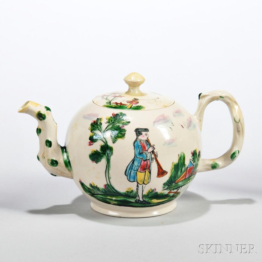 White Salt-glazed Stoneware Polychrome Enamel-decorated Teapot and Cover