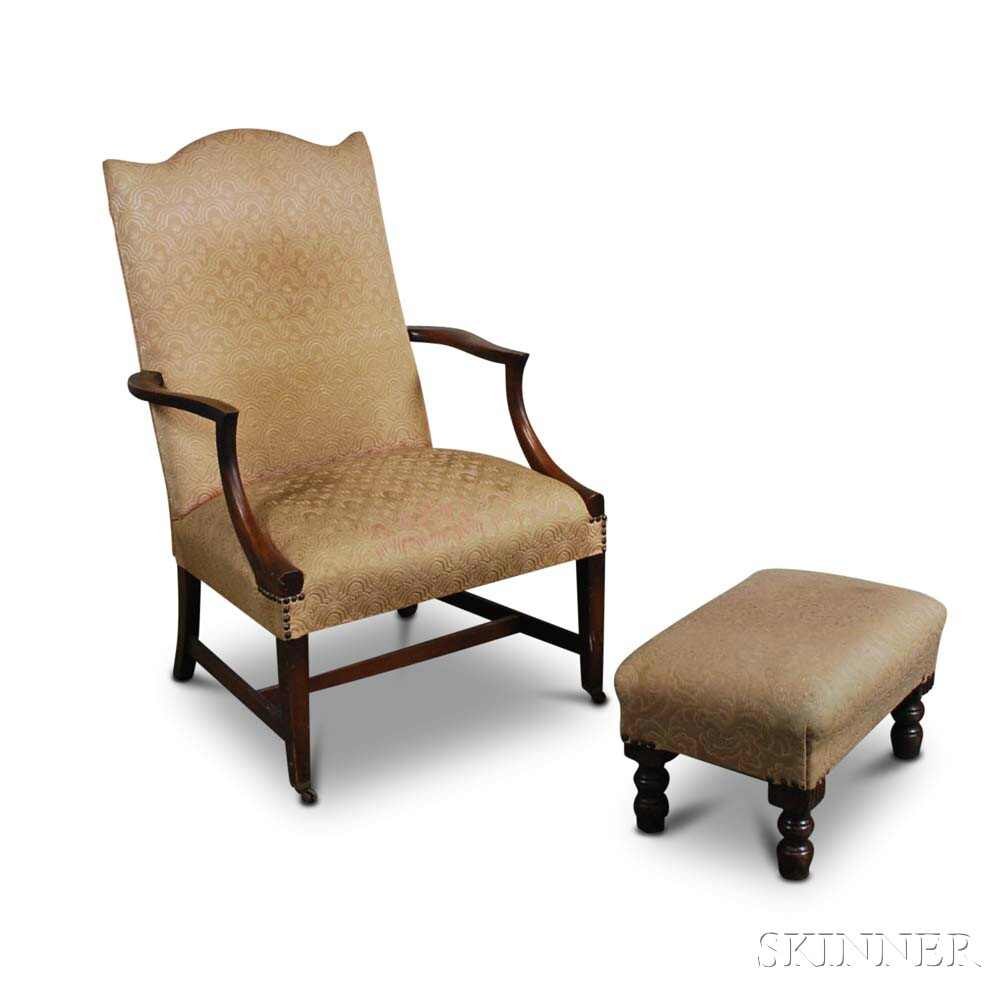 Federal-style Mahogany Lolling Chair and a Footstool