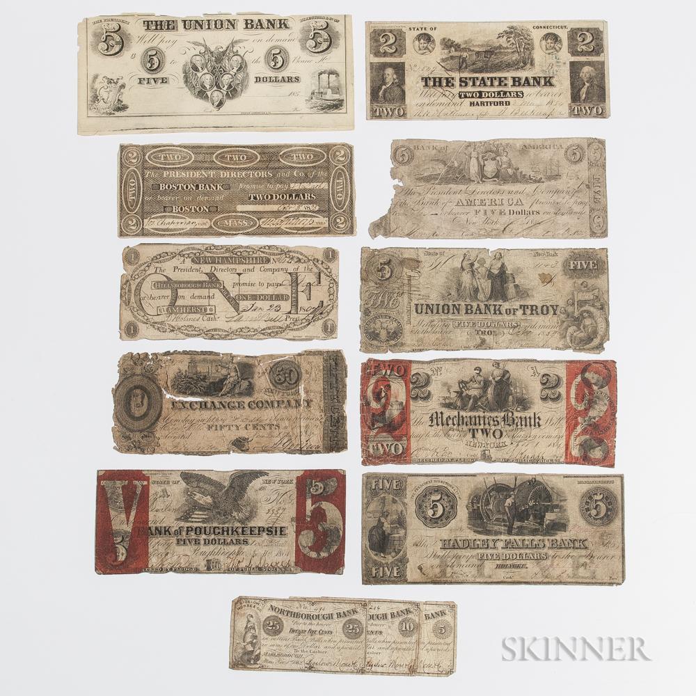 Thirteen Obsolete Bank Notes