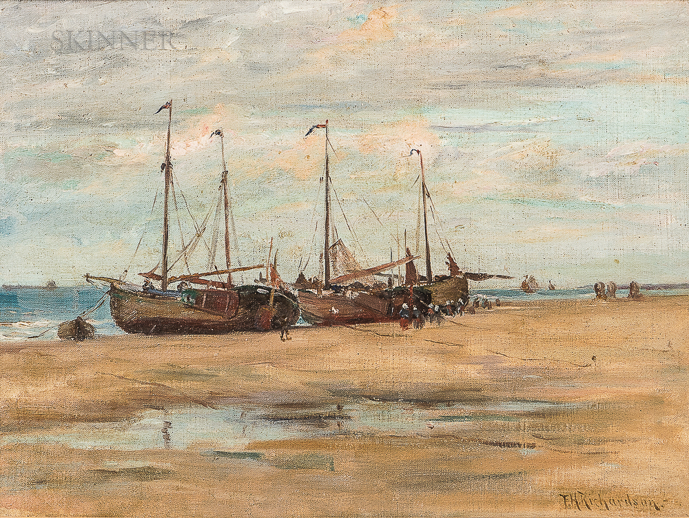 Francis Henry Richardson (American, 1859-1934)      Fishing Ketches on the Beach