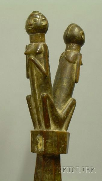 African Carved Wood Janus Figure Rattle