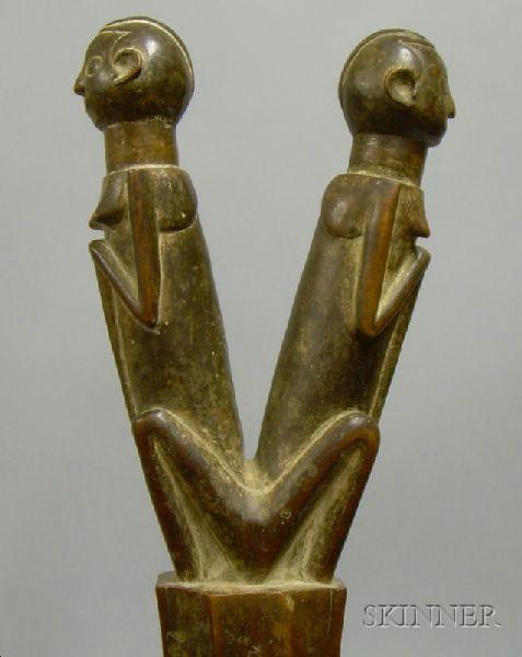 African Carved Wood Janus Figure Rattle