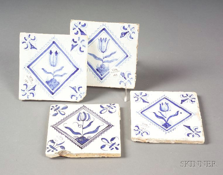 Twenty-three Tin Glazed Delft Tiles