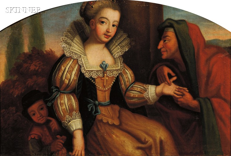 Continental School, 17th Century Style      The Gypsy Fortune Teller