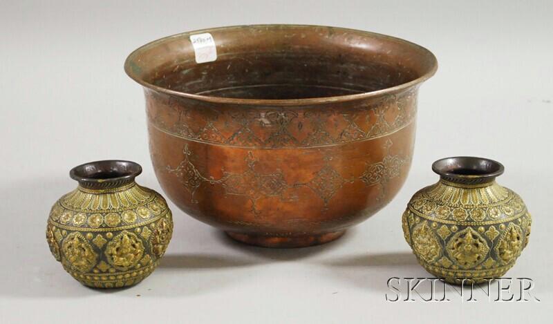 Three Asian Metal Vessels