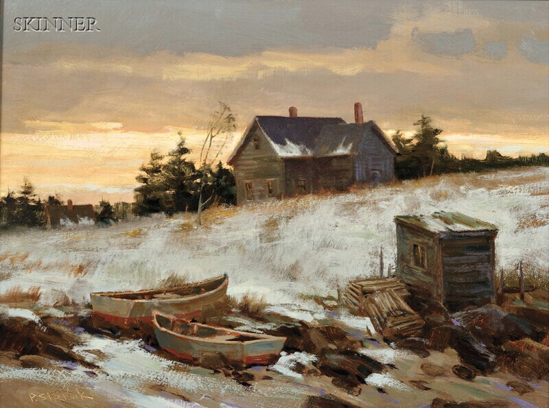 Paul Strisik (American, 1918-1998)      Evening, Maine Coast