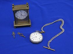 Small Swiss Brass and Enamel Timepiece and a Silver Pocket Watch.