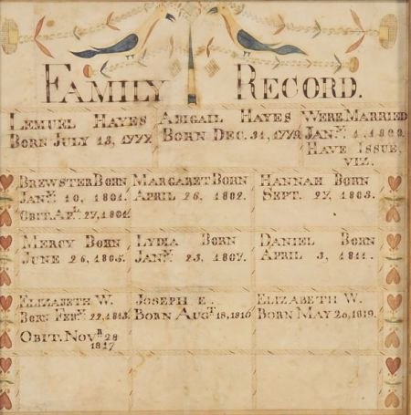Attributed to Moses Connor, Jr. (New Hampshire, active 1800-1832)    Family Record:  Lemuel and Abigail Hayes.