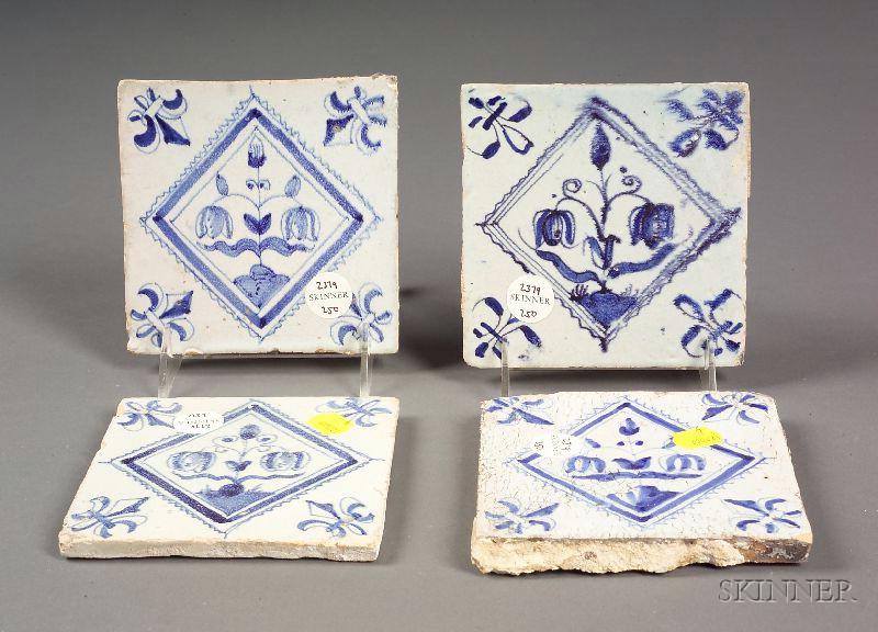 Thirty-two Tin Glazed Delft Tiles