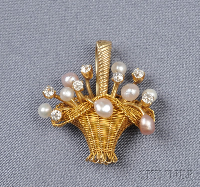 Antique 14kt Gold, Diamond, and Seed Pearl Basket Pendant