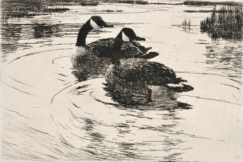 Frank Weston Benson (American, 1862-1951)      Frontispiece for Volume Two of the Catalogue (Two Geese)
