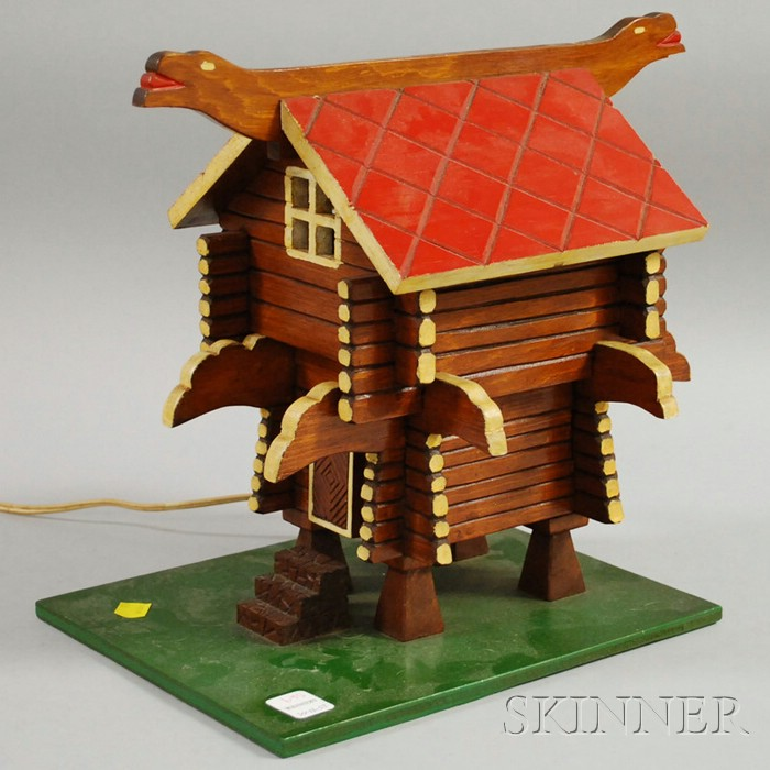 Folk Carved and Painted Wood Lodge Model