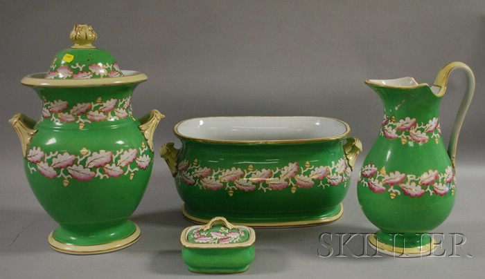 Four-piece English Oak Leaf and Acorn-decorated Ceramic Partial Chamber Set.