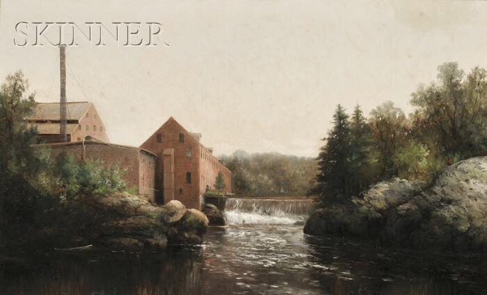 Wesley Elbridge Webber (American, 1841-1914)      Mill Buildings and Waterfall, Possibly Conway, New Hampshire