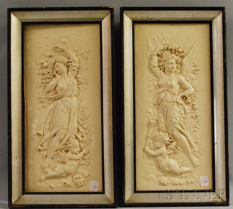 Pair of Framed Classical Plaster Bas Relief Plaques Dawn   and Dusk