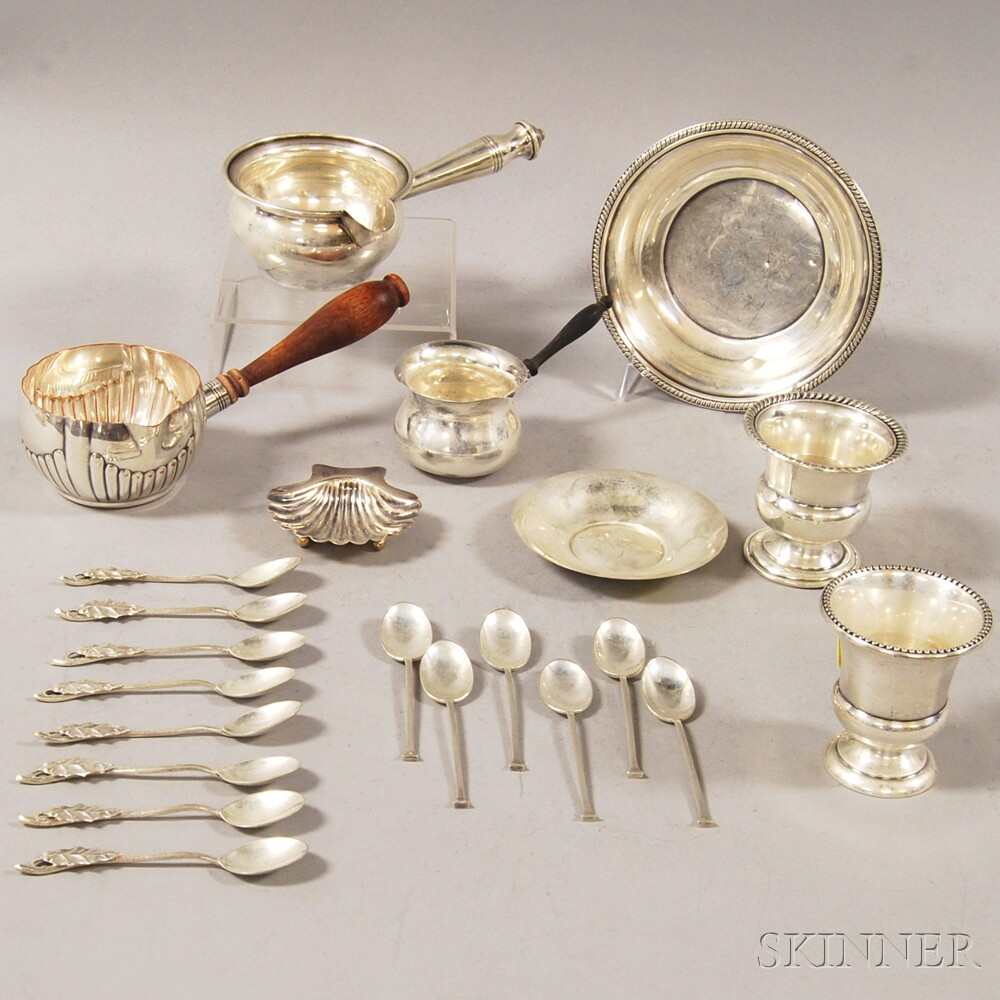 Small Group of Assorted Mostly Sterling Silver Tableware and Flatware