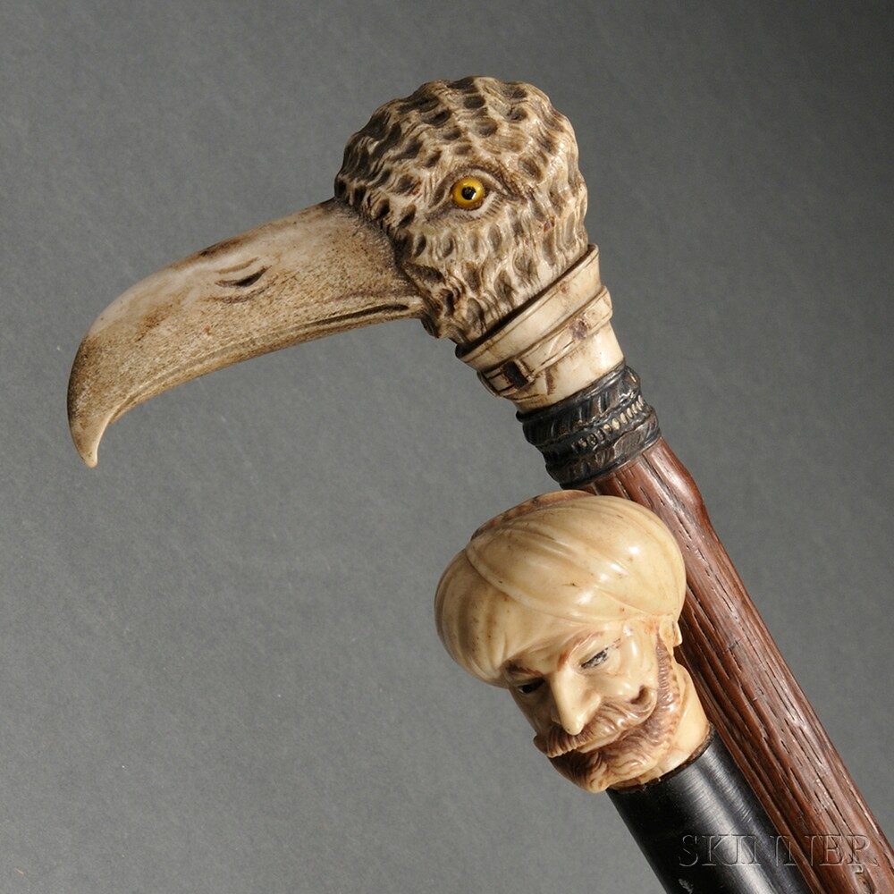 Two Canes with Carved Knops