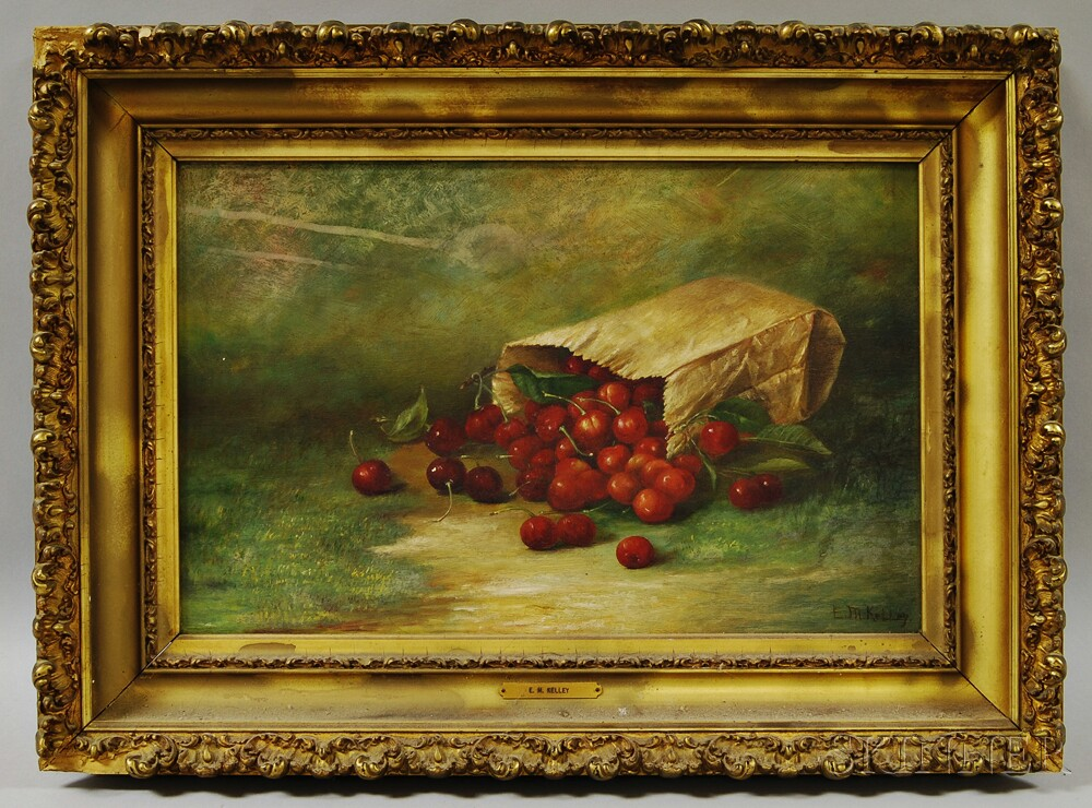 E.M. Kelley (American, 19th Century)       Still Life with Bag of Cherries.