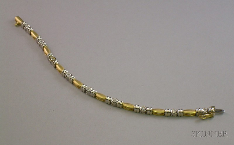 Bicolor 14kt Gold and Diamond Bracelet