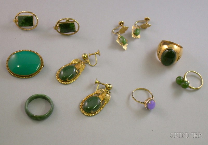 Group of Gold and Gold-filled Jade, Quartz, and Glass Jewelry