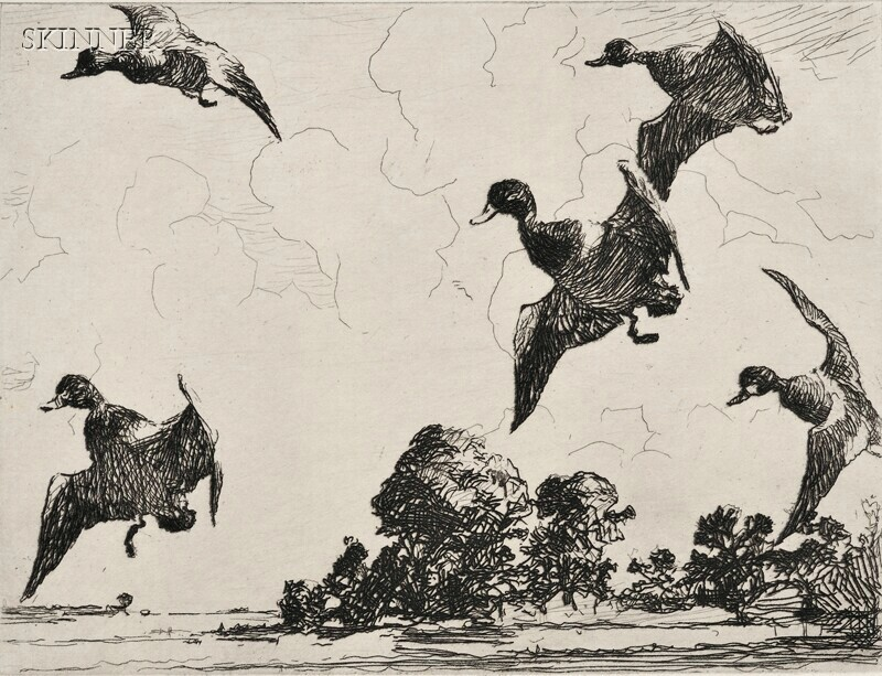 Frank Weston Benson (American, 1862-1951)      Frontispiece for Volume Three of the Catalogue (On Set Wings)